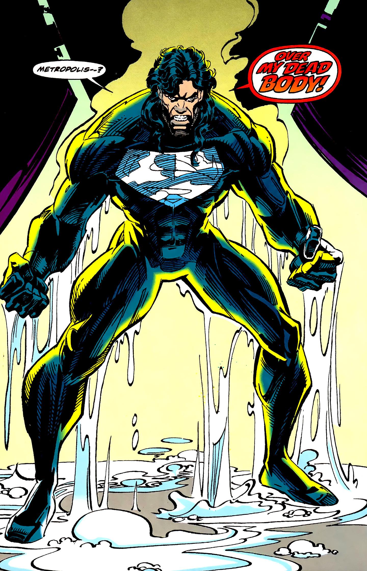 """superman in his black recovery suit from reign of the supermen - Dan Jurgens opina sobre el traje negro de Superman en la """"Liga de la Justicia"""""""
