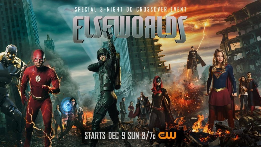 "Elseworlds Poster - Banner promocional del crossover ""ElseWorlds"" con todos los protagonistas"