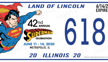 Matrícula Superman Celebration 348x200 - Disponibles las placas de matrículas de la 42ª Celebración Anual de Superman