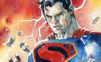 Subasta de acuarela de Superman por Jim Lee 348x215 - Superman de la Edad de Oro rompe las cadenas en la nueva acuarela de Jim Lee
