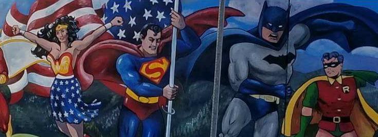 Mural superhéroes Edad de Oro Maryville