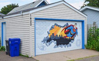 Mural de puerta de garaje de Superman